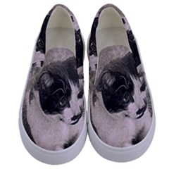 Cat Pet Art Abstract Vintage Kids  Canvas Slip Ons