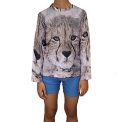 Leopard Art Abstract Vintage Baby Kids  Long Sleeve Swimwear