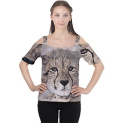 Leopard Art Abstract Vintage Baby Cutout Shoulder Tee