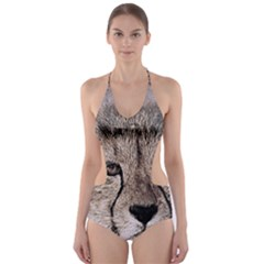 Leopard Art Abstract Vintage Baby Cut Out One Piece Swimsuit