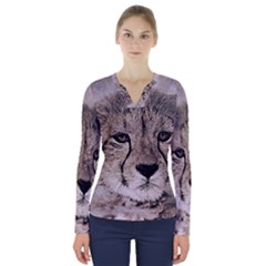 Leopard Art Abstract Vintage Baby V Neck Long Sleeve Top