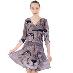 Leopard Art Abstract Vintage Baby Quarter Sleeve Front Wrap Dress