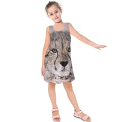 Leopard Art Abstract Vintage Baby Kids  Sleeveless Dress