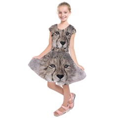 Leopard Art Abstract Vintage Baby Kids  Short Sleeve Dress