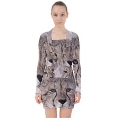 Leopard Art Abstract Vintage Baby V Neck Bodycon Long Sleeve Dress