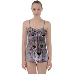 Leopard Art Abstract Vintage Baby Babydoll Tankini Set
