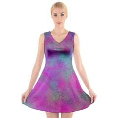 Background Texture Structure V Neck Sleeveless Skater Dress