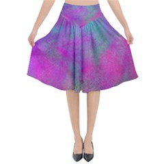 Background Texture Structure Flared Midi Skirt