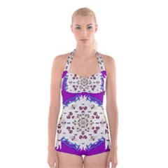 Eyes Looking For The Finest In Life As Calm Love Boyleg Halter Swimsuit