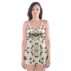 Eyes Looking For The Finest In Life As Calm Love Skater Dress Swimsuit