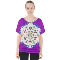 Eyes Looking For The Finest In Life As Calm Love V Neck Dolman Drape Top