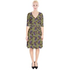 Green Purple And Orange Pear Blossoms Wrap Up Cocktail Dress