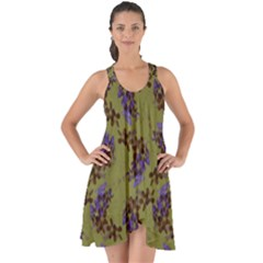 Green Purple And Orange Pear Blossoms Show Some Back Chiffon Dress