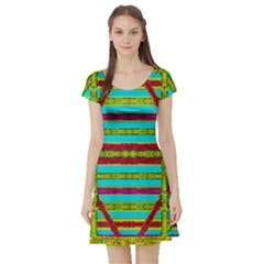 Gift Wrappers For Body And Soul Short Sleeve Skater Dress