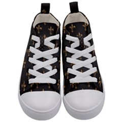 Fleur De Lis Kid s Mid Top Canvas Sneakers