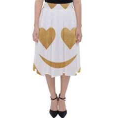 Gold Smiley Face Folding Skater Skirt