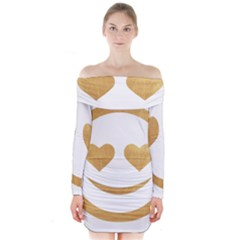 Gold Smiley Face Long Sleeve Off Shoulder Dress