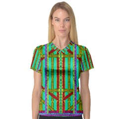 Gift Wrappers For Body And Soul In  A Rainbow Mind V Neck Sport Mesh Tee