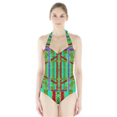 Gift Wrappers For Body And Soul In  A Rainbow Mind Halter Swimsuit
