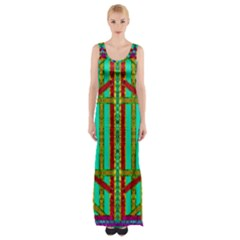 Gift Wrappers For Body And Soul In  A Rainbow Mind Maxi Thigh Split Dress