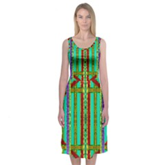 Gift Wrappers For Body And Soul In  A Rainbow Mind Midi Sleeveless Dress