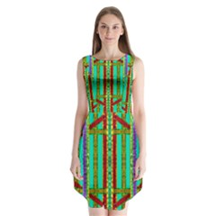 Gift Wrappers For Body And Soul In  A Rainbow Mind Sleeveless Chiffon Dress
