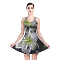 White Lily Flower Nature Beauty Reversible Skater Dress