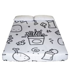 Set Chalk Out Scribble Collection Fitted Sheet (queen Size)