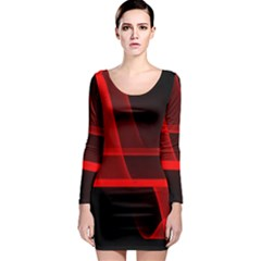 Background Light Glow Abstract Art Long Sleeve Bodycon Dress