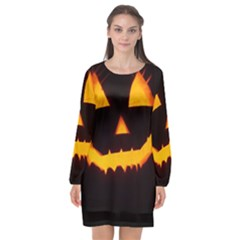 Pumpkin Helloween Face Autumn Long Sleeve Chiffon Shift Dress