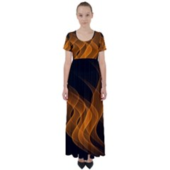 Background Light Glow Abstract Art High Waist Short Sleeve Maxi Dress