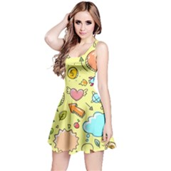 Cute Sketch Child Graphic Funny Reversible Sleeveless Dress