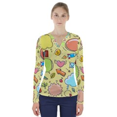 Cute Sketch Child Graphic Funny V Neck Long Sleeve Top