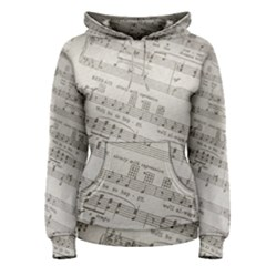 Sheet Music Paper Notes Antique Women s Pullover Hoodie