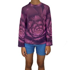 Fractal Blossom Flower Bloom Kids  Long Sleeve Swimwear