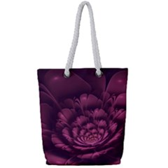 Fractal Blossom Flower Bloom Full Print Rope Handle Tote (small)