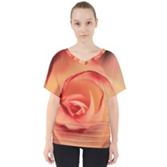 Rose Orange Rose Blossom Bloom V Neck Dolman Drape Top