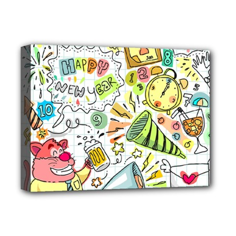 Doodle New Year Party Celebration Deluxe Canvas 16  X 12