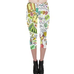Doodle New Year Party Celebration Capri Leggings