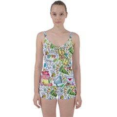 Doodle New Year Party Celebration Tie Front Two Piece Tankini