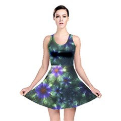 Fractal Painting Blue Floral Reversible Skater Dress