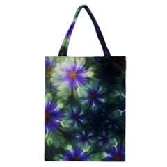 Fractal Painting Blue Floral Classic Tote Bag