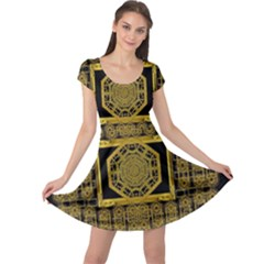 Beautiful Stars Would Be In Gold Frames Cap Sleeve Dress