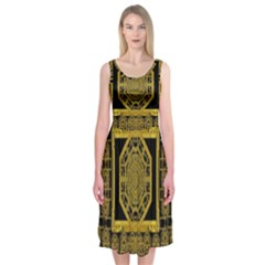Beautiful Stars Would Be In Gold Frames Midi Sleeveless Dress