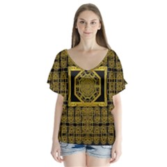 Beautiful Stars Would Be In Gold Frames V Neck Flutter Sleeve Top