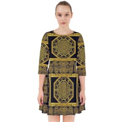 Beautiful Stars Would Be In Gold Frames Smock Dress