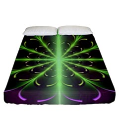 Fractal Purple Lime Pattern Fitted Sheet (king Size)