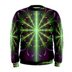 Fractal Purple Lime Pattern Men s Sweatshirt