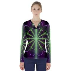 Fractal Purple Lime Pattern V Neck Long Sleeve Top