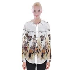 Dog Portrait Pet Art Abstract Womens Long Sleeve Shirt